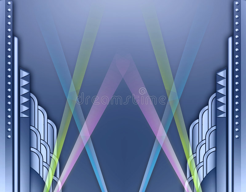 Art deco dat frame w/spotlights bouwt vector illustratie