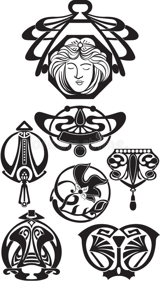 The Art Deco Design Elements. Vector. Art elements isolated on white vector illustration