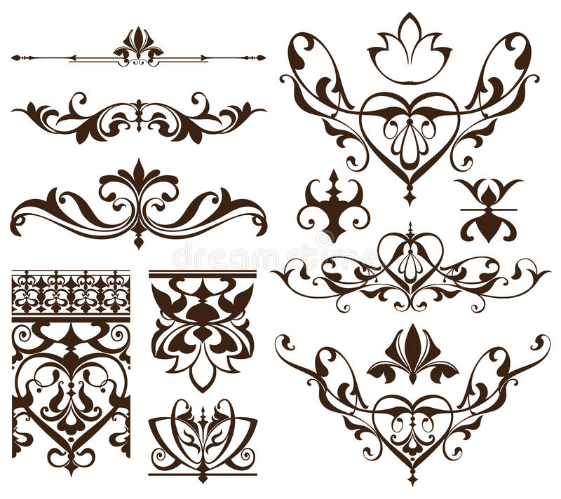 Art deco design elements of vintage ornaments and borders corners of the frame Isolated art nouveau flourishes Simple elements. Of floral ornaments and royalty free illustration