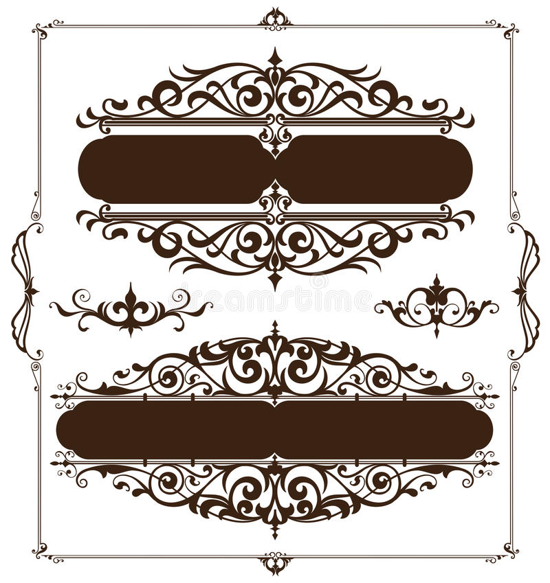 Art deco design elements of vintage ornaments and borders corners of the frame. Art nouveau flourishes on a white background stock illustration