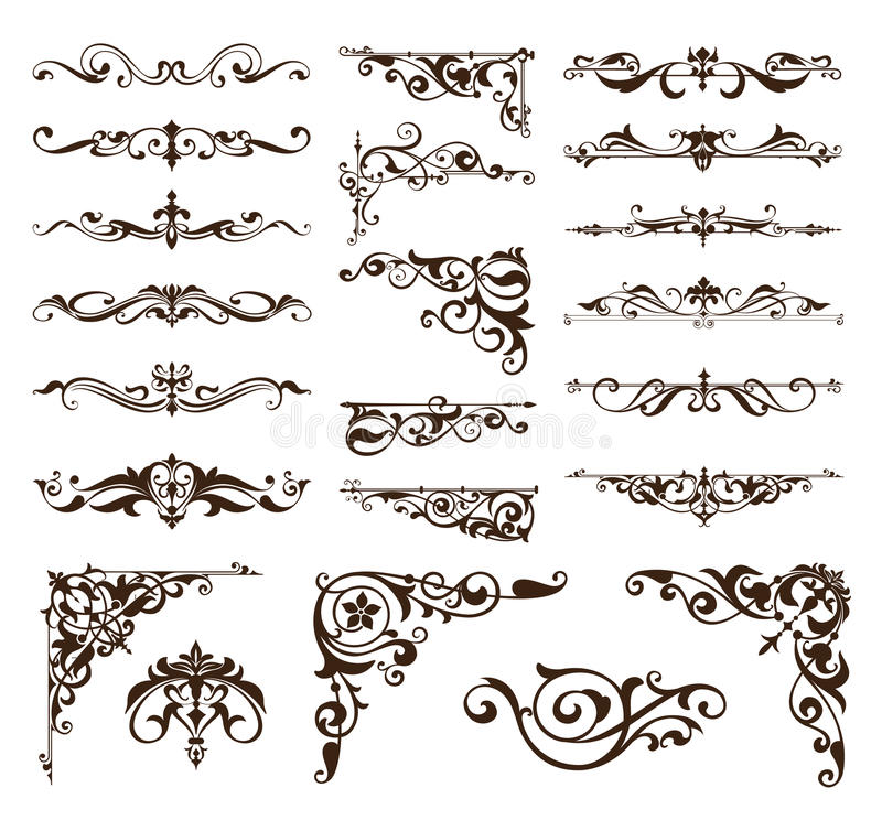 Download Art Deco Design Elements Of Vintage Ornaments And Borders Corners Of The Frame Stock Vector - Illustration of circular, elements: 77545883