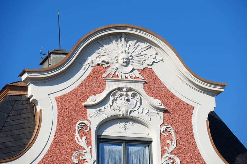 Art deco details. Decorative gable on a Jugendstil building royalty free stock photo