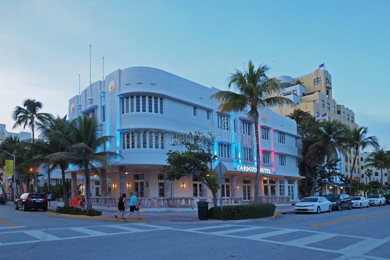 Art Deco District in het Strand van Miami, Florida stock afbeeldingen