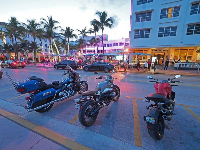 Art Deco District in het Strand van Miami, Florida royalty-vrije stock afbeelding
