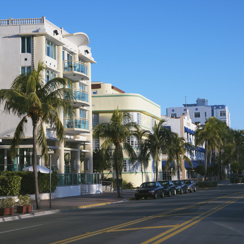 Art deco district of Miami, Florida, USA. stock photo