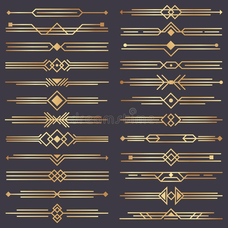 Art deco divider. Gold retro arts border, 1920s decorative ornaments and golden dividers borders vector design set. Art deco divider. Gold retro arts border royalty free illustration