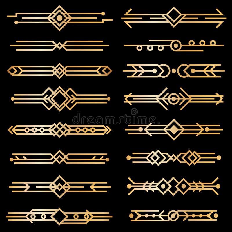 Art deco dividers. Gold deco design lines, golden book header borders. 1920s victorian vintage elements on black. Vector stock illustration