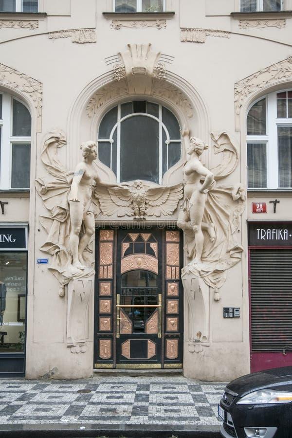 Art-Deco door in Prague, Czech Republic stock photos