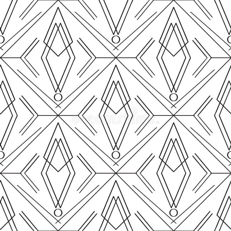 Art deco eenvoudig lineair naadloos patroon stock illustratie