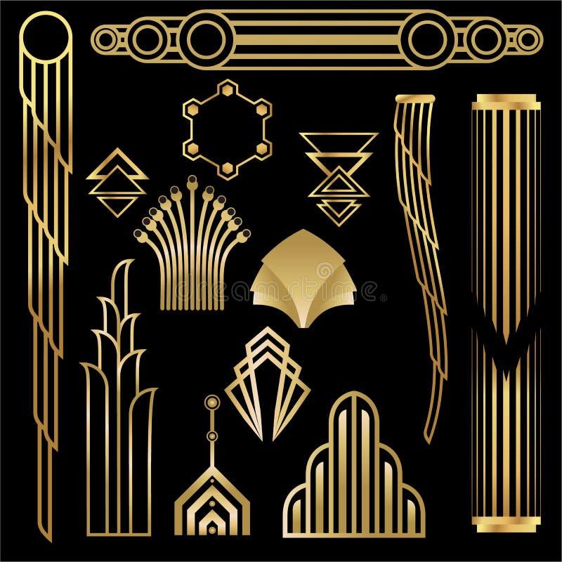Art Deco, elementos geométricos de Art Nuevo, enmarca los triángulos, círculos Sistema de DIY de bastidores Gran Gatsby, va de fi stock de ilustración