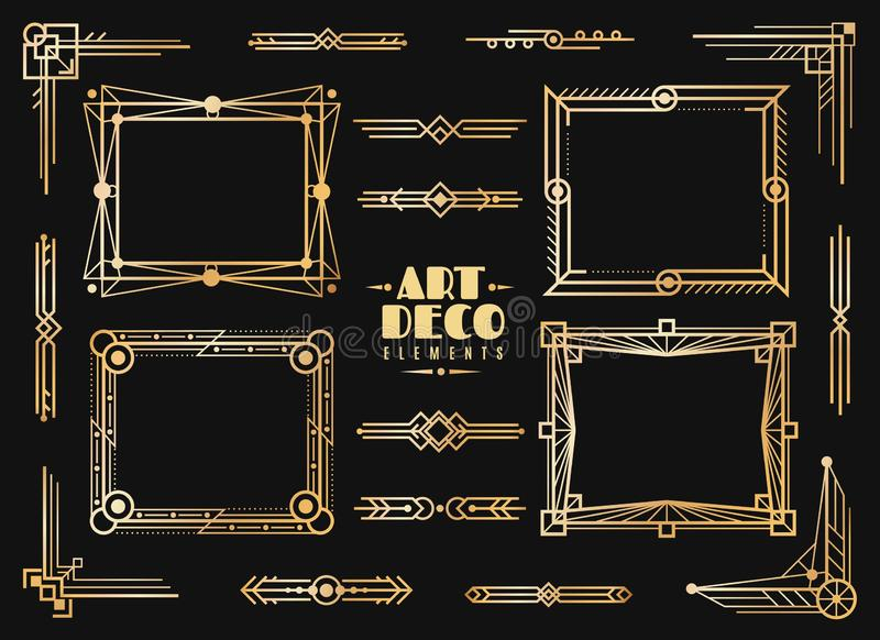 Art deco elements. Gold wedding deco frame border, classic dividers and corners. 1920s retro luxury art golden abstract vector illustration