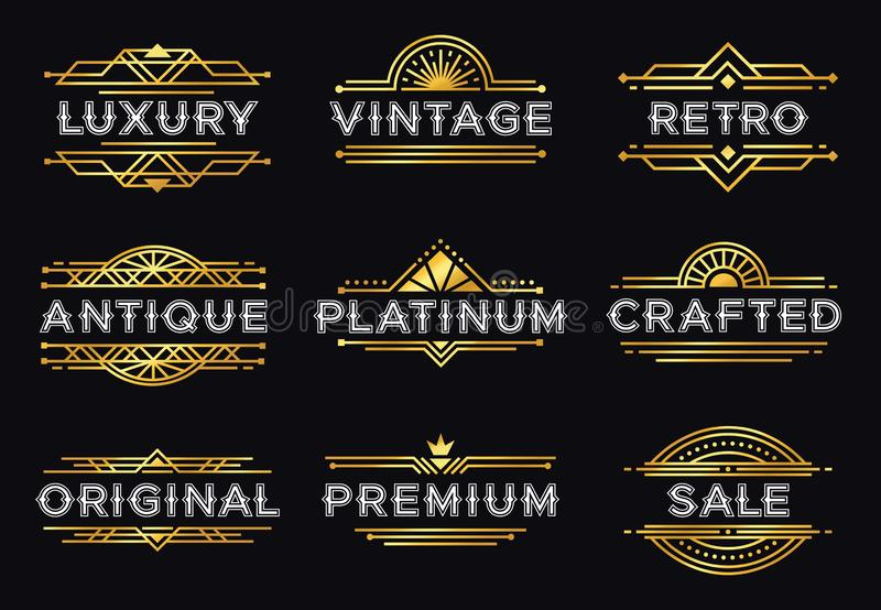 Art Deco etykietka Retro luksusowi geometryczni ornamenty, rocznika ornamentu rama i modni? dekoracyjne linie, przylepiaj? etykie ilustracji