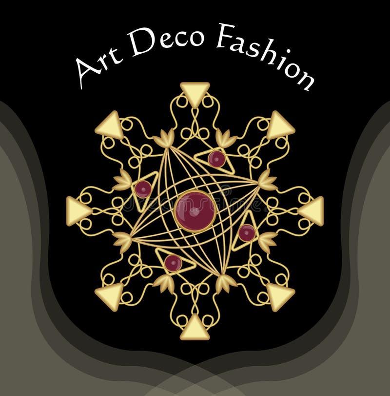 Art Deco filigree złota broszka z czerwonymi klejnotami rubiny lub garnet, moda w wiktoriański stylu, antykwarska złocista biżute royalty ilustracja