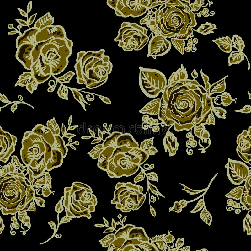 Art Deco Floral Seamless Pattern With Roses Stock Vector ...