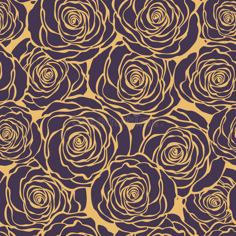 Art Deco Floral Seamless Pattern With Roses. Vector Roses Hand D ...