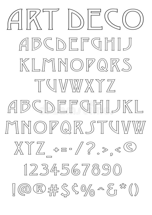 Art Deco font. An Art deco font with Capitals, Small Caps, numbers and glyhs. Original artwork A3 size. Available in Vector format stock illustration