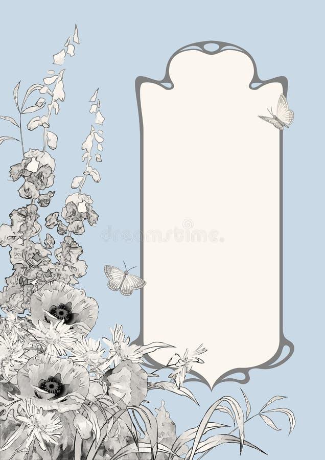 Art Deco Frame Botanical Composition illustrazione vettoriale