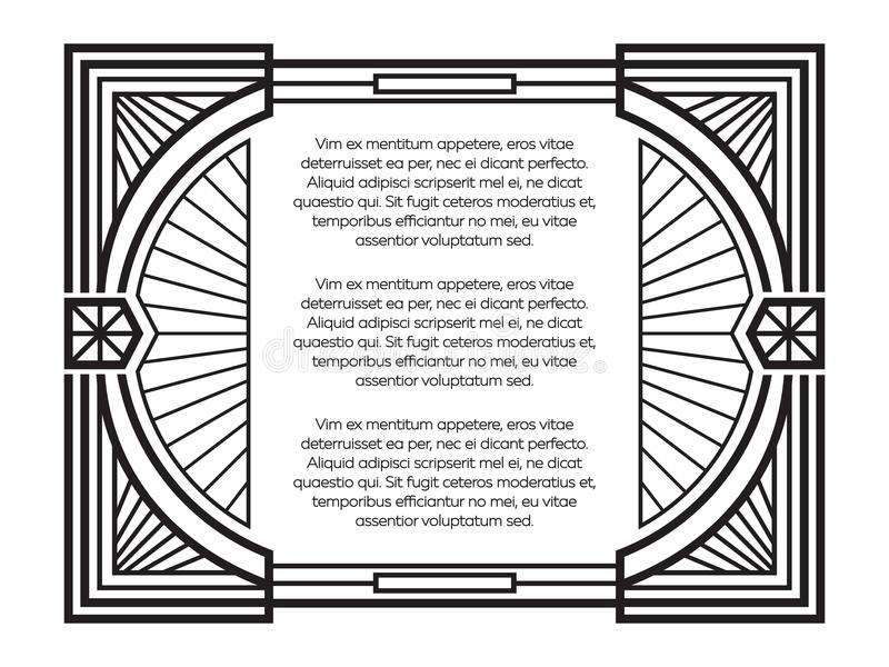 Art deco frame template isolated on white background. Vector illustration stock illustration