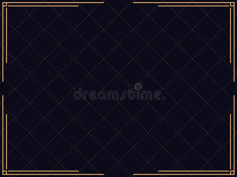 Art deco frame. Vintage linear border. Design a template for invitations, leaflets and greeting cards. The style of the 1920s - 1930s. Vector illustration stock illustration