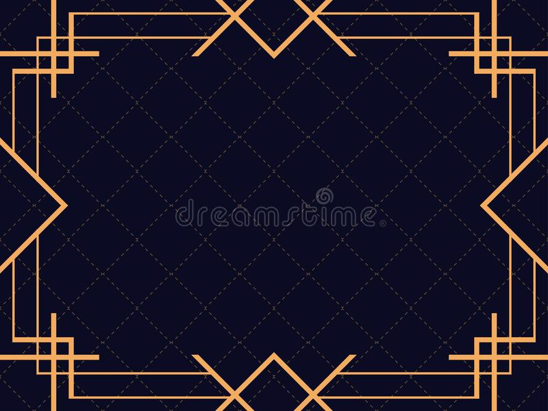 Art deco frame. Vintage linear border. Design a template for invitations, leaflets and greeting cards. The style of the 1920s and 1930s. Vector illustration royalty free illustration