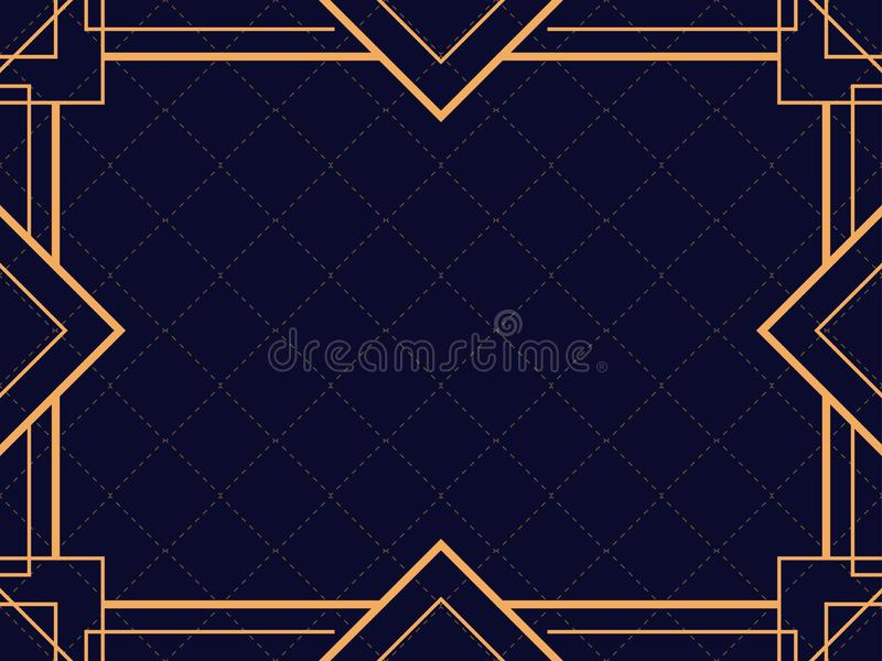 Art deco frame. Vintage linear border. Design a template for invitations, leaflets and greeting cards. The style of the 1920s and 1930s. Vector illustration vector illustration