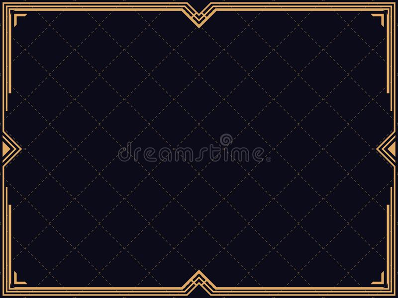 Art deco frame. Vintage linear border. Design a template for invitations, leaflets and greeting cards. Retro style of the 1920s, 1930s. Vector illustration royalty free illustration