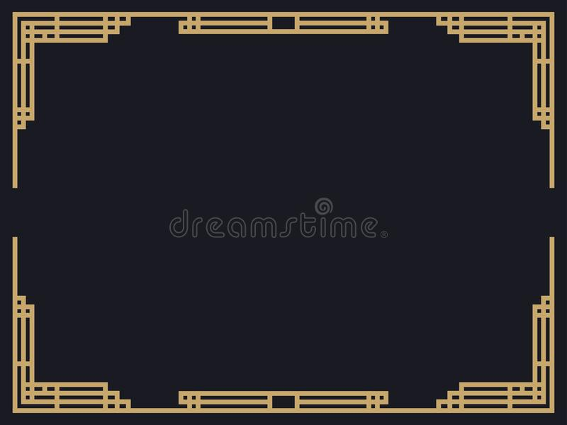 Art deco frame. Vintage linear border. Design a template for invitations, leaflets and greeting cards vector illustration