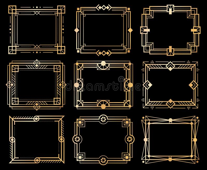 Art deco frames. Gold deco image frame borders, golden geometry line patterns. 1920s vintage luxury art elements. Vector. Isolated abstract llustration ornament vector illustration