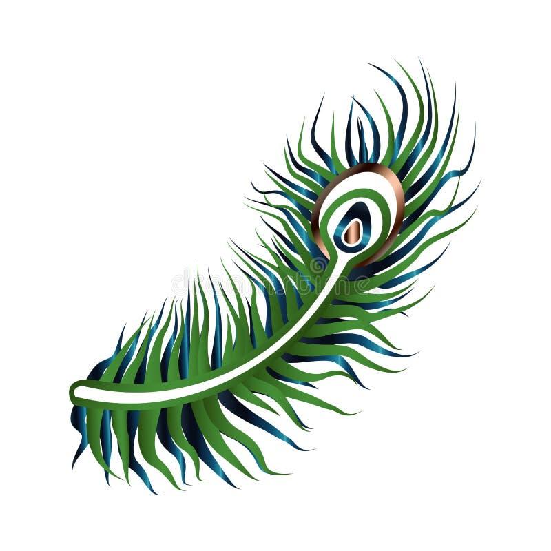 Art Deco Gatsby Peacock Feather-Ontwerp vector illustratie