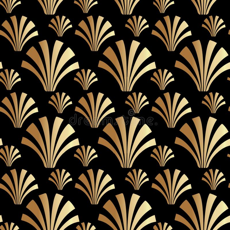 Art Deco Gatsby Style Shell-Patroonachtergrond royalty-vrije illustratie