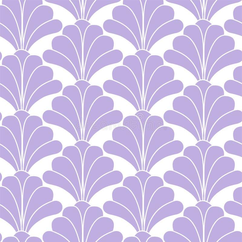 Art Deco Gatsby Style Vintage-Naadloze Patroon van de Pastelkleur het Purpere Bloemenbloem vector illustratie
