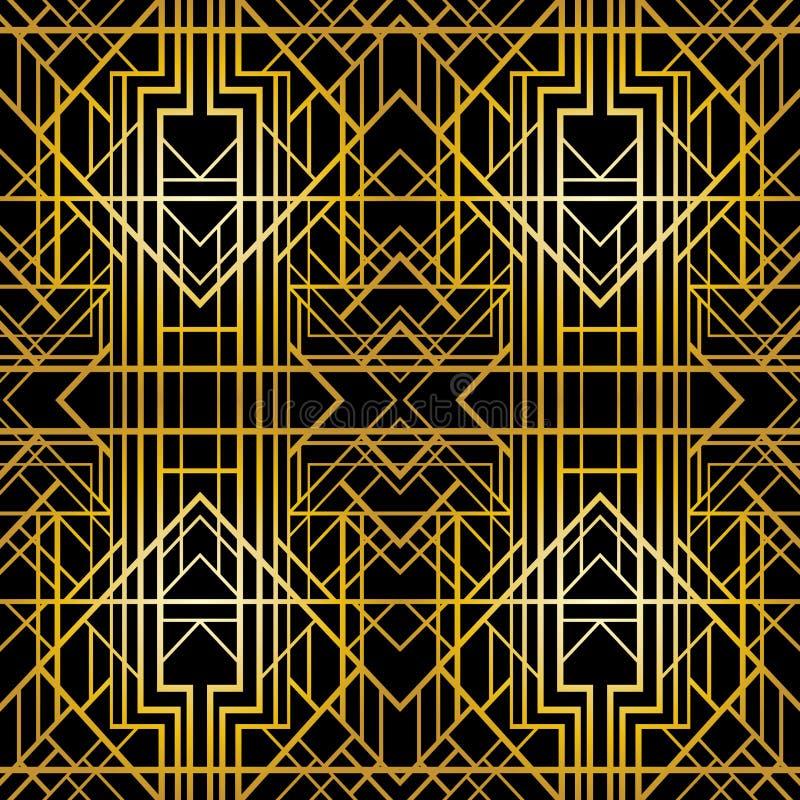 Art deco geometrisch patroon (jaren '20stijl), naadloos behang stock illustratie