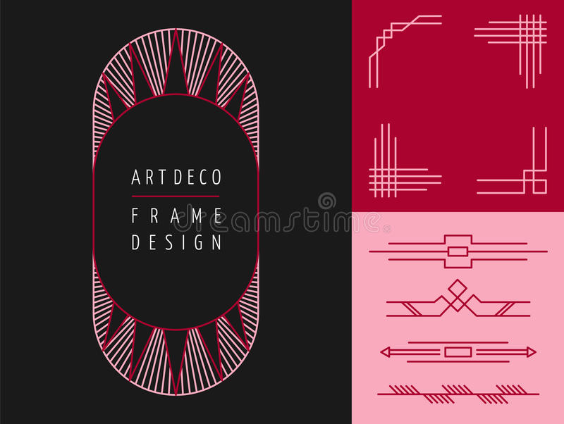 Art deco geometry frame set mono line elements. Set of art deco geometry frame designs and mono line lettering elements. Ideal for making your own greeting cards vector illustration