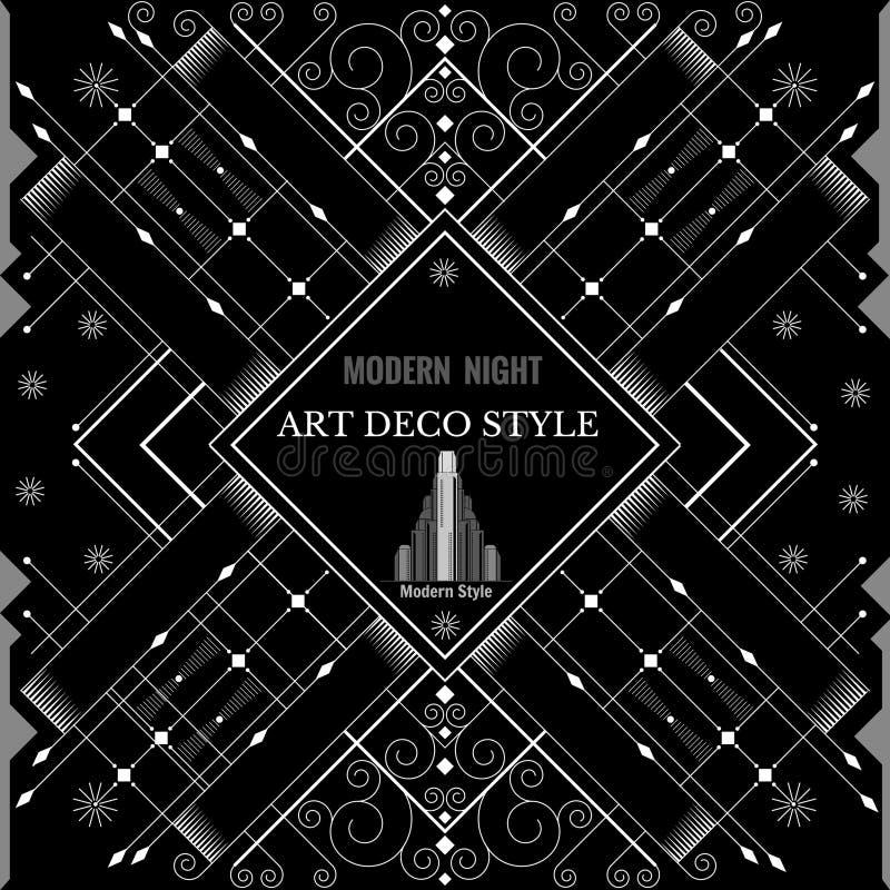 Art Deco geometryczny deseniowy nowożytny srebny tło ilustracji