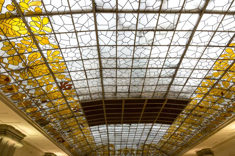 Art deco glass ceiling royalty free stock photography