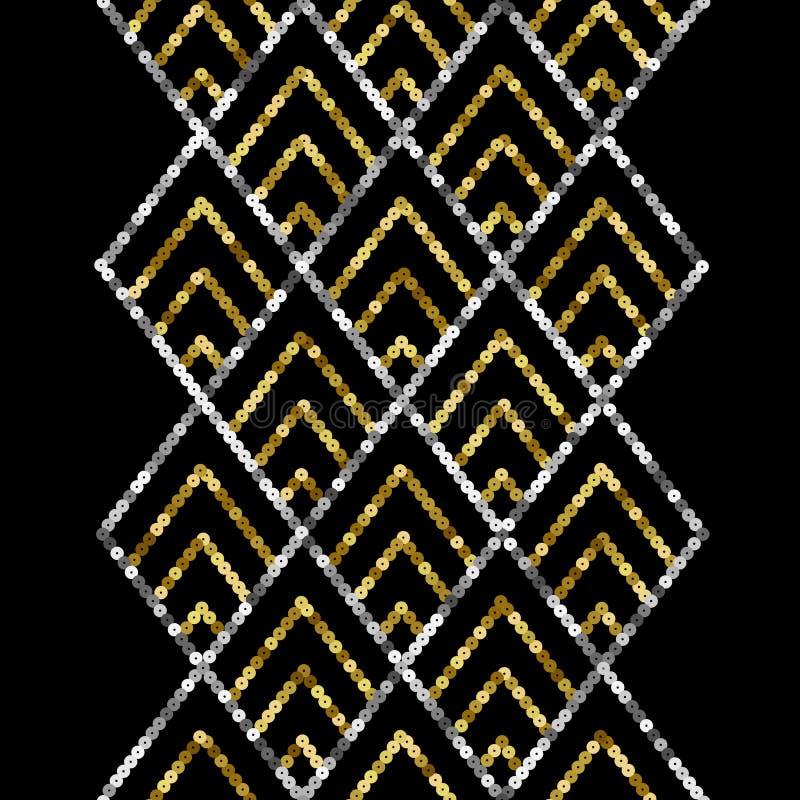 Art Deco Golden Sequin Seamless Border. Gatsby Luxury Retro Background stock illustration