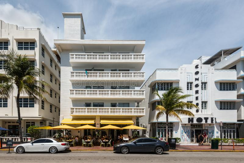 Art Deco Historic District in Miami Beach: South Beach, Florida, United Startes of America. Miami, FL, USA - April 19, 2019: The Ocean Drive Studio apartments on royalty free stock images