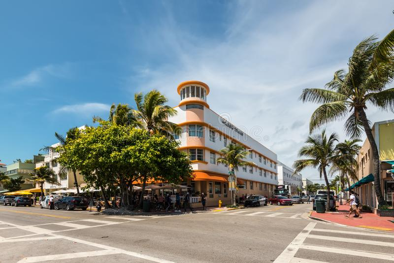 Art Deco Historic District in Miami Beach: Spiaggia del sud, Florida, Startes unito dell'America immagine stock libera da diritti
