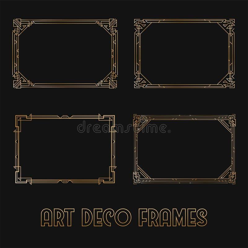 Art Deco Horizontal Gold Frames y fronteras fijados Elementos de moda del diseño de Gatsby Art Deco Style retro Aislado Vector ilustración del vector