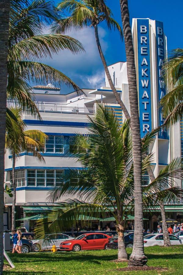 Art Deco Hotel, spiaggia del sud fotografie stock