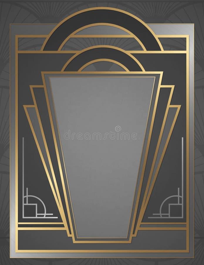 Art Deco Invitation Flyer Poster Art Elegant Gold Silver royalty free illustration