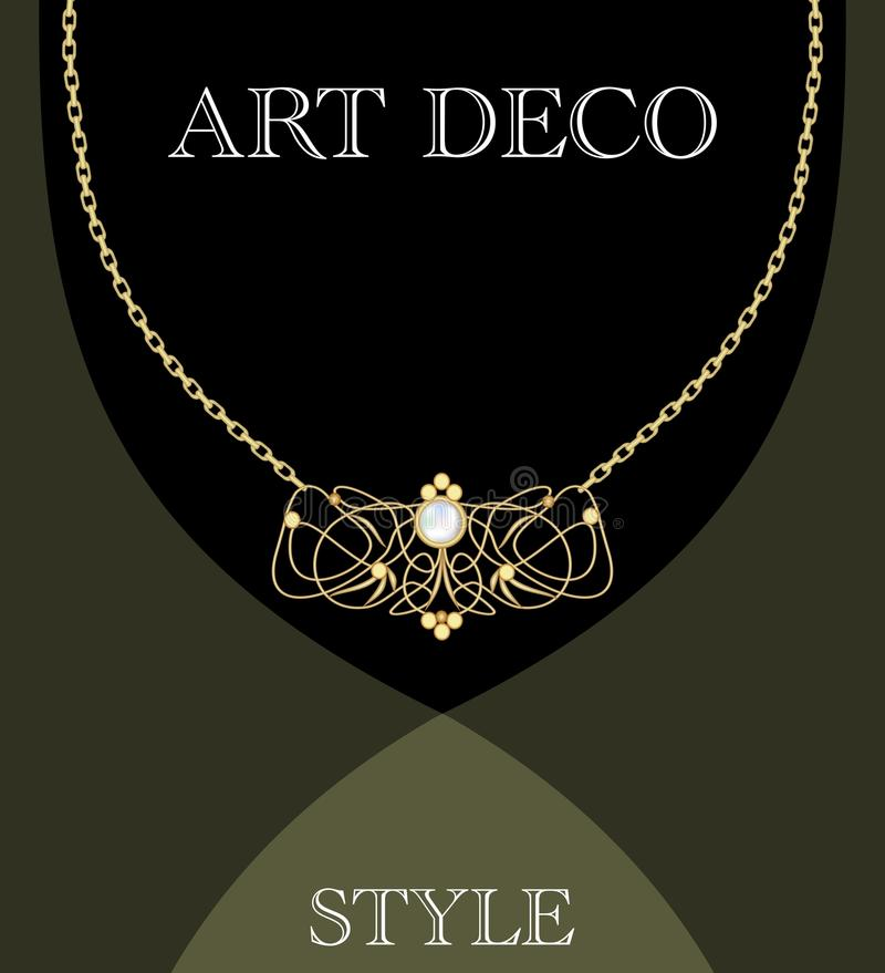 Art deco jewel. Vintage gold necklace in victorian style. Retro filigree antiquarian jewelry. Ancient vector object royalty free illustration
