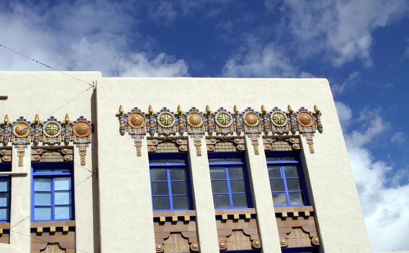 USA, New Mexico/Albuquerque: Art Deco Building. A detail of the KiMo Theater in Albuquerque, New Mexico/USA; it is located at 423 Central Avenue NW in downtown royalty free stock photography