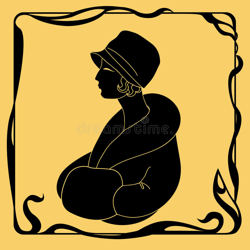 Art Deco kobiety sylwetka ilustracja wektor