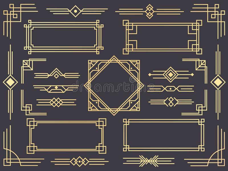 Art deco line border. Modern arabic gold frames, decorative lines borders and geometric golden label frame vector design. Art deco line border. Modern arabic royalty free illustration