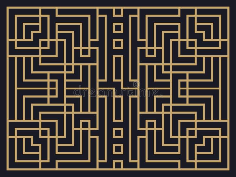 Art Deco Linear Pattern Projete um molde para convites, folhetos e cartões ilustração royalty free