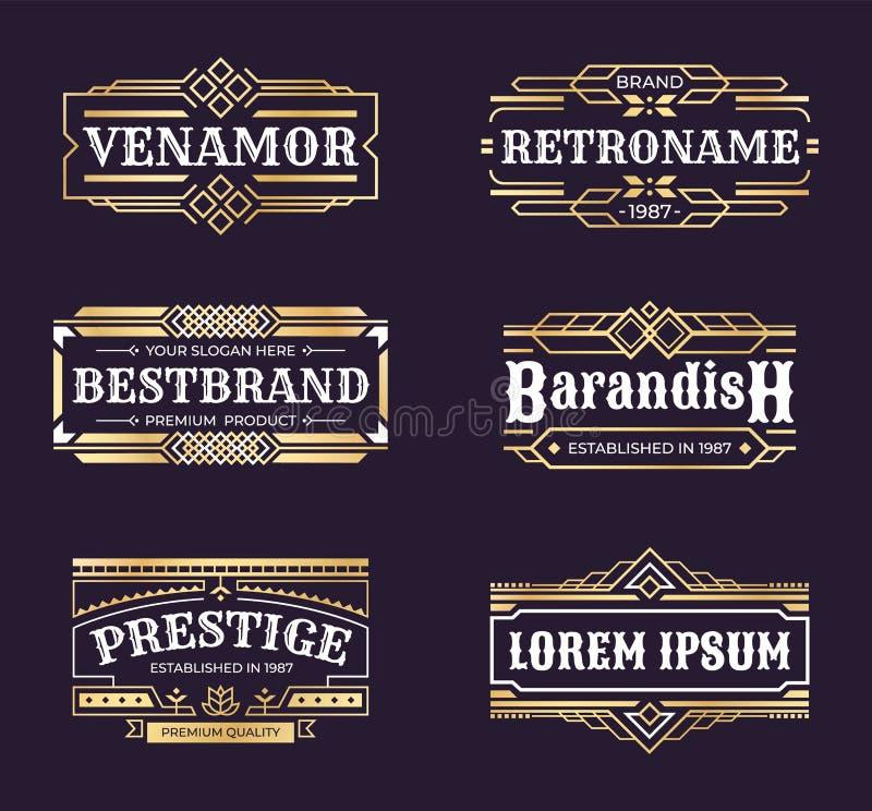 Art deco logos. Geometric hipster ornament frame, vintage line minimal antique border, luxury emblem in retro style royalty free illustration