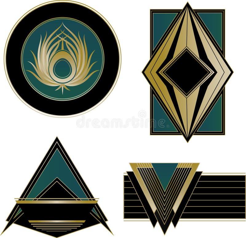 Art Deco Logos och designbeståndsdelar royaltyfri illustrationer