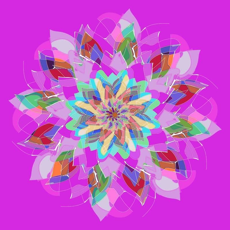 art deco mandala ŚRODKOWY kwiat W purpurach, rewolucjonistka, błękit, seledyn, turkus PROSTY PURPUROWY tło royalty ilustracja
