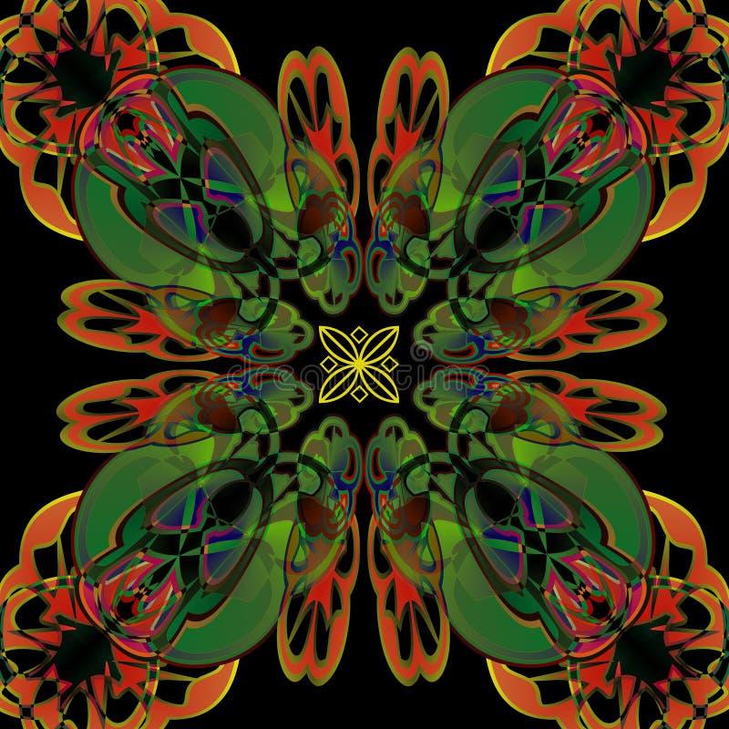 ART DECO MANDALA , PLAIN BLACK BACKGROUND royalty free stock images